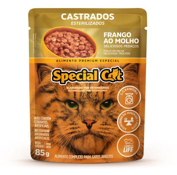 Ração Úmida Special Cat Sachê Frango Gatos Castrados 85Gr