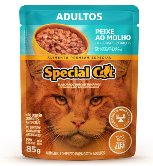 Ração Úmida Special Cat Sachê Peixe Gatos Adultos 85Gr