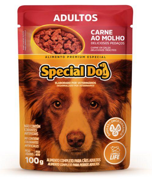 Ração Úmida Special Dog Sachê Carne  Cães Adultos 100Gr