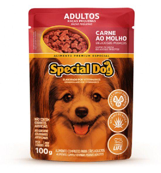 Ração Úmida Special Dog Sachê Carne Cães Racas Pqna Adultos 100gr