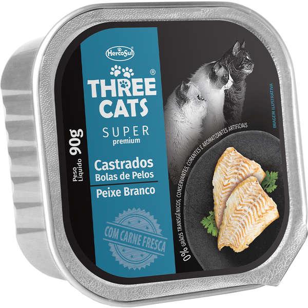 Ração Úmida Three Cats Bolas de Pelos Super Premium Patê Peixe Branco Gatos Castrados 90g
