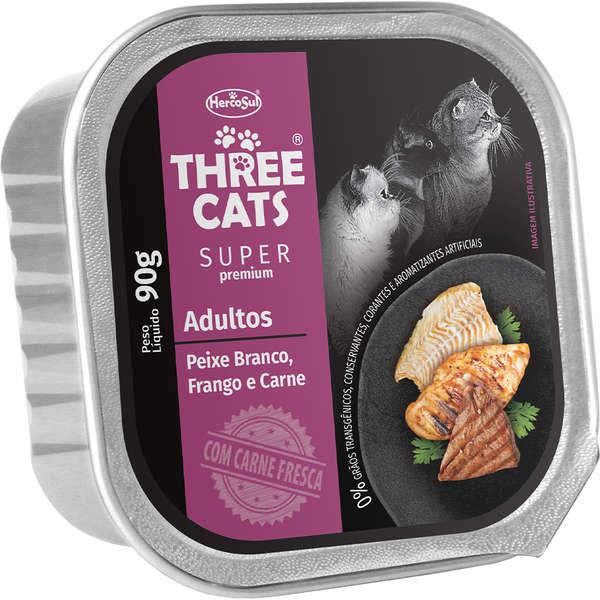 Ração Úmida Three Cats Super Premium Patê Peixe Branco, Frango e Carne Gatos Adultos 90g
