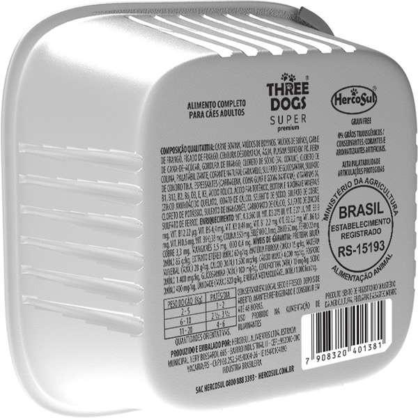 Ração Úmida Three Dogs Super Premium Patê Carne e Cenoura Cães Adultos 150g
