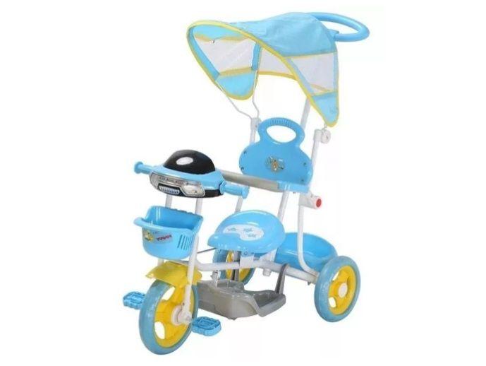Triciclo Infantil Empurrador Passeio Cobertura Sol Azul