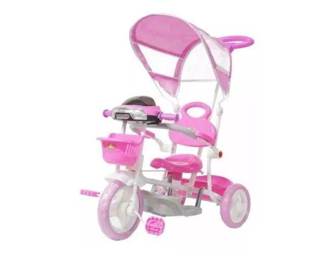 Triciclo Infantil Empurrador Passeio Cobertura Sol Rosa