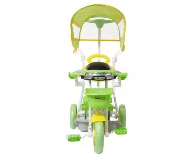 Triciclo Infantil Empurrador Passeio Cobertura Sol Verde