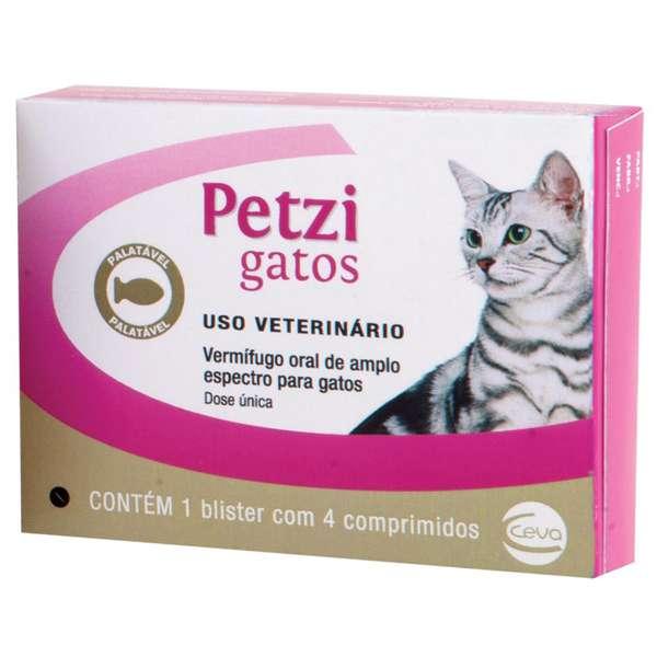 Vermifugo Ceva Petzi Gatos 600 mg - 4 Comprimidos