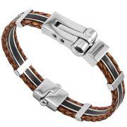 Bracelete Algema Luxe de Aço Inox  Marrom