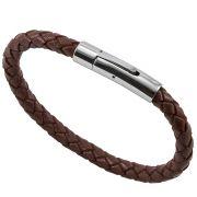 Bracelete de Aço Inox 316L Com Couro Modelo Light Brown