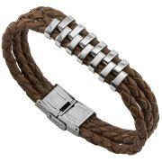 Bracelete de Aço Inox 316L Com Couro Sintético Marrom