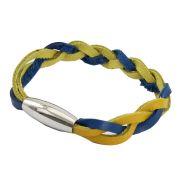Bracelete de Couro Azul e Amarelo Com Fecho de Aço Inox 316L