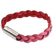 Bracelete de Couro Vermelho Com Fecho de Aço Inox 316L