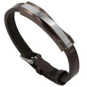 Bracelete Luxe de Aço Inox com Couro Legítimo Marrom e Folheação Brown