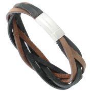 Bracelete Rosso de Couro Trançado Preto e Marrom Fecho Aço Inox 316L