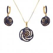 Conjunto Brinco e Gargantilha Flor Folheado a Ouro 18k Com Zircônias Azul Royal