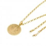 Kit Medalha São Bento com Corrente Cartier 4mm e 60cm Folheado a Ouro 18k