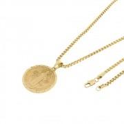 Kit Medalha São Bento com Corrente Veneziana 3mm e 60cm Folheado a Ouro 18k