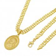 Medalha Jesus Cristo com Corrente Grumet Dupla Grossa Folheada a Ouro