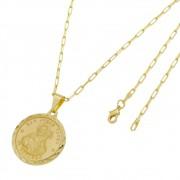 Medalha São Judas Tadeu com Corrente Francesa Longa Folheada a Ouro