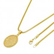 Medalha Santa Rita com Corrente Rede Folheada a Ouro