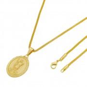 Medalha Santo Expedito com Corrente Rede Folheada a Ouro