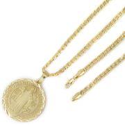 Medalha São Bento + Conjunto 5mm Pulseira e Corrente Folheado a Ouro 18k