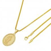 Medalha São José com Corrente Rede Folheada a Ouro