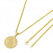 Medalha São Rafael com Corrente Rede Folheada a Ouro