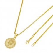 Medalha Senhor é meu Pastor com Corrente Rede Folheada a Ouro