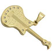 Pingente Guitarra de Aço Inox 316 Folheado