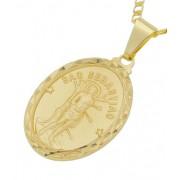 Pingente Medalha São Sebastião Folheada a Ouro 18k