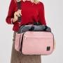Bolsa/Mochila Maternidade Cinza com Rosa  Mommy Bag vira Cama 3 em 1 Linha Letto