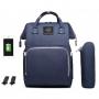 Bolsa/Mochila Maternidade Land Azul Com USB e Impermeável