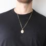 Pingente Medalha Anjo da Guarda Com Corrente Grumet Folheada a Ouro 18k