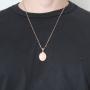 Pingente Medalha Jesus Cristo Com Corrente modelo francesa Longa Folheado a Ouro Rosê