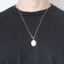 Pingente Medalha São Cristovão Com Corrente modelo francesa Longa Folheado a Ouro Rosê