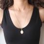 Pingente Nossa Senhora das Graças Milagrosa Com Corrente modelo francesa Folheado a Ouro 18k