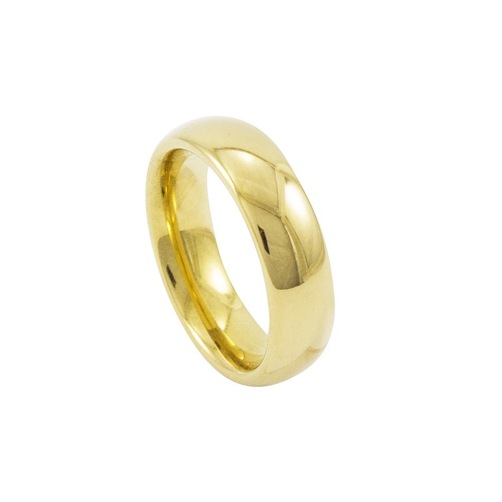 Aliança Avulsa de Tungstênio com 6mm de Largura Modelo Tradicional Gold
