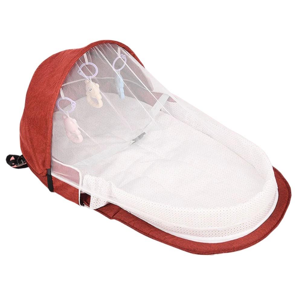 Berço Cama portátil com brinquedos e mosquiteiro para bebê dormir dobrável