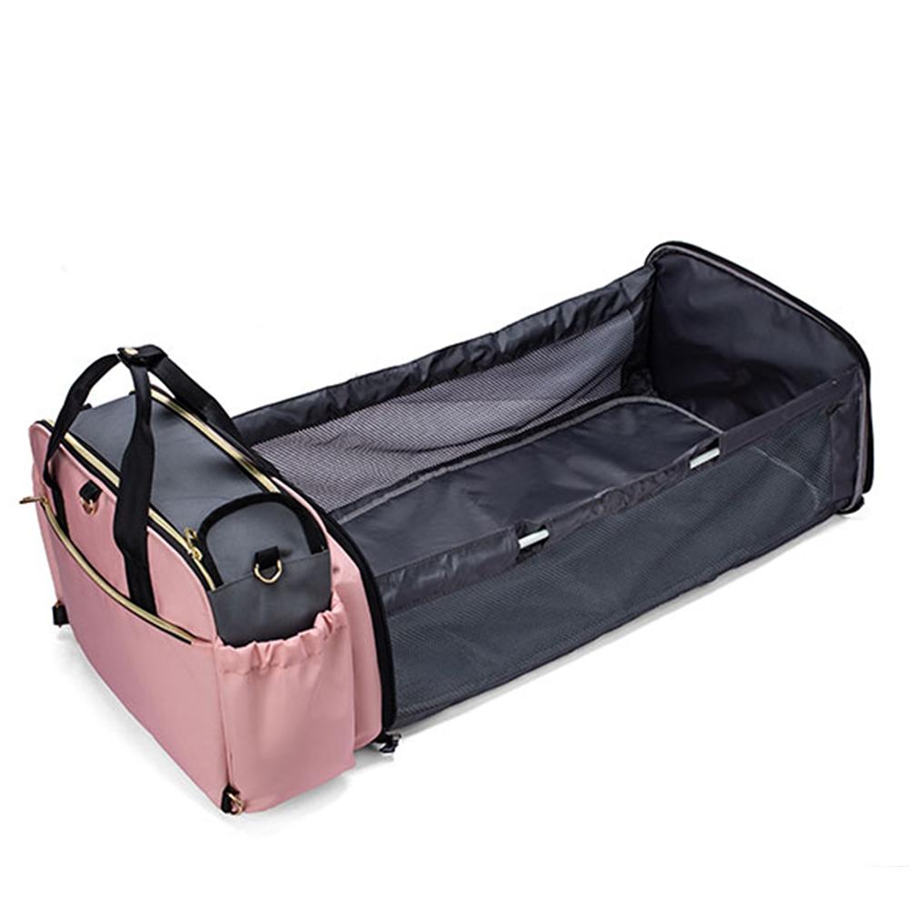 Berço Cama Portátil LandCrib para bebê dormir Dobrável Rosa Mommy Bag