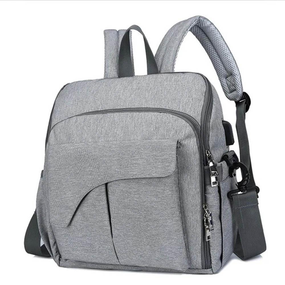 Bolsa Maternidade Mommy Bag Vira Cadeirinha 2 em 1 Chaise Cinza Claro Com USB e Impermeável