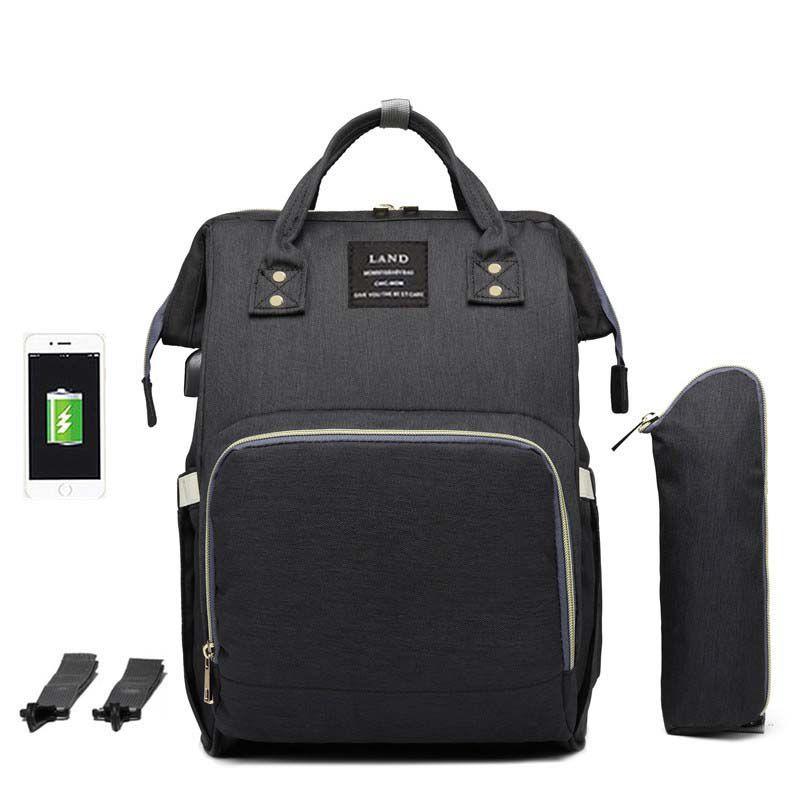 Bolsa/Mochila Maternidade Land Preta Com USB e Impermeável