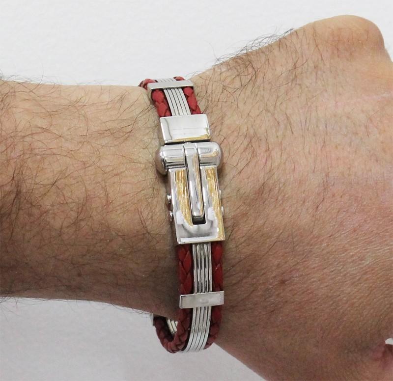 Bracelete Algema Luxe de Aço Inox 316L Com Couro Vermelho