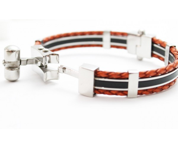 Bracelete Algema Luxe de Aço Inox com Couro Marrom