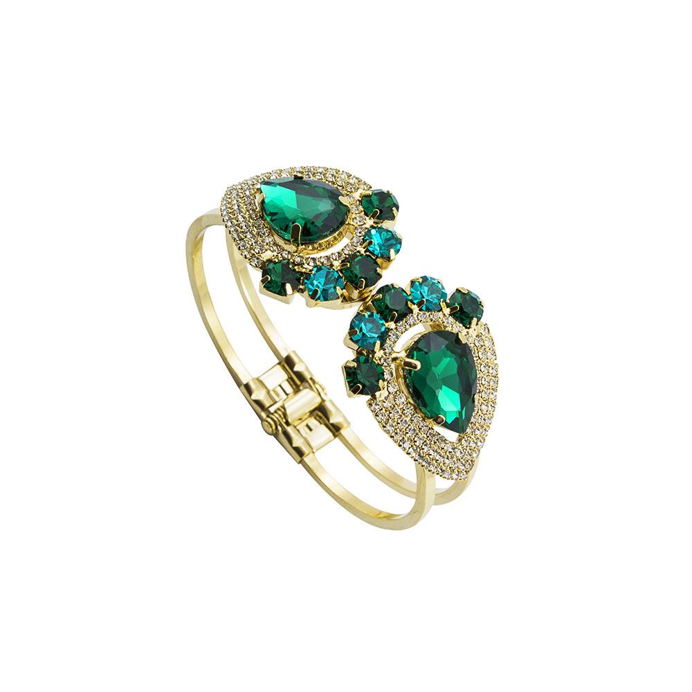 Bracelete Com Pedras Folheado a Ouro 18k
