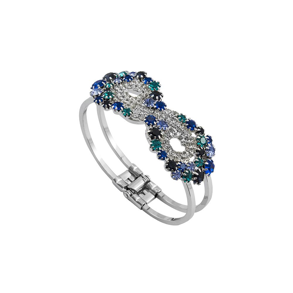 Bracelete Com Pedras Folheado a Ródio