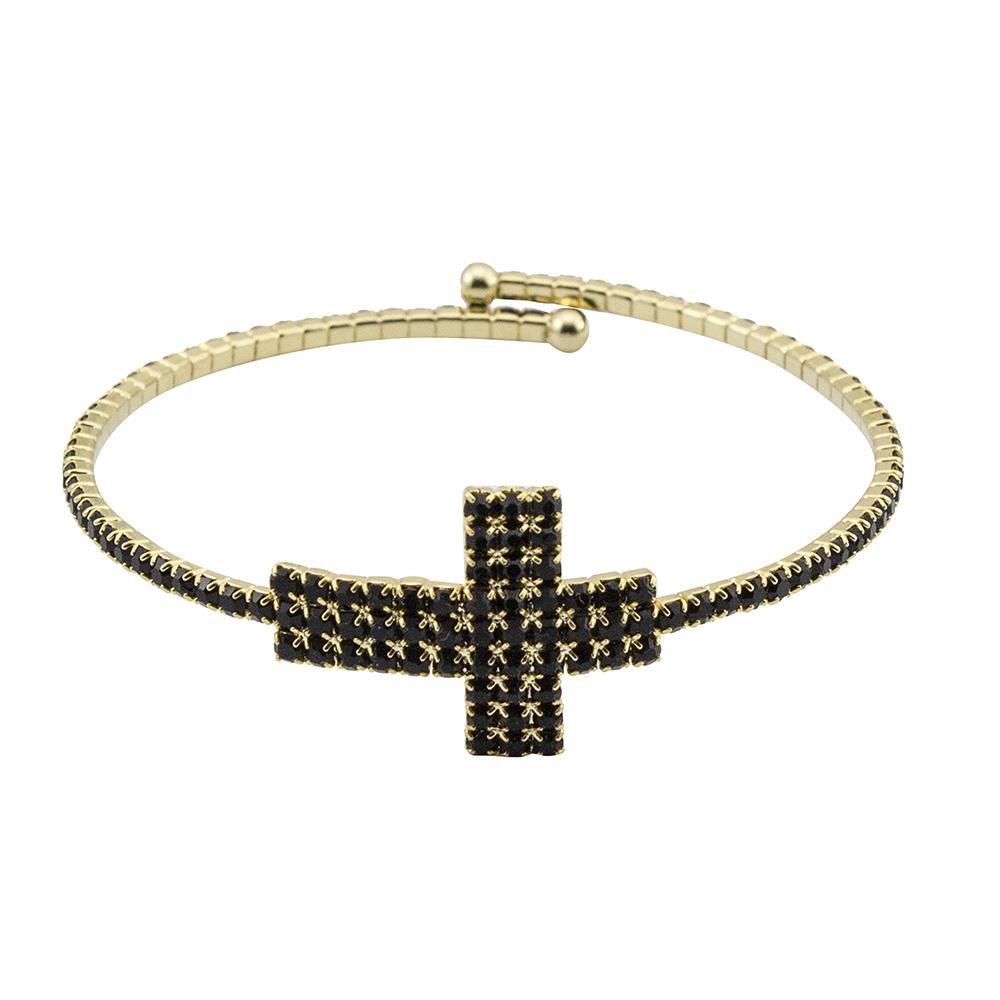 Bracelete Cruz Folheada a Ouro Com Zircônias
