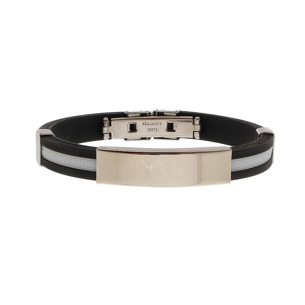 Bracelete de Aço com Silicone Com Chapa Lisa