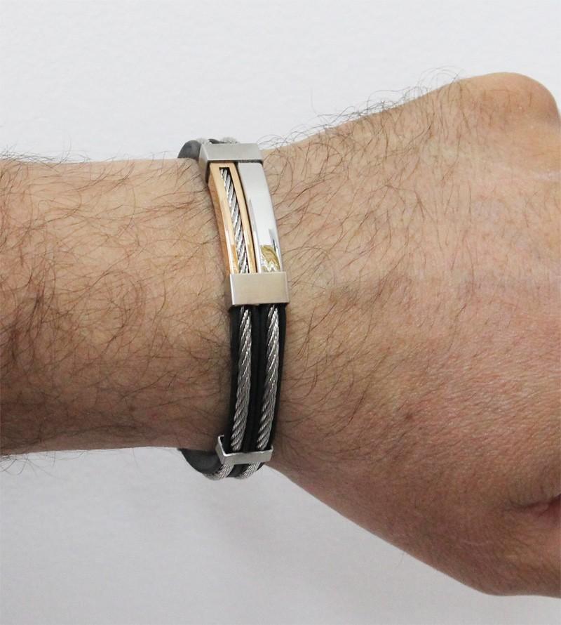 Bracelete de Aço com Silicone e Cabo Náutico Modelo Folheação Rosê