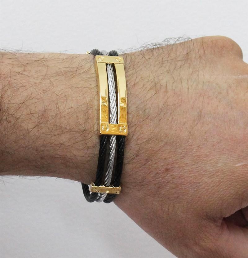 Bracelete de Aço Inox 316L Com 12mm de Largura Folheado 3 cores